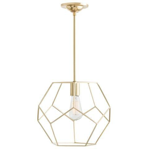 Lighting - Arteriors Mara Geo Small Pendant Light - Gold