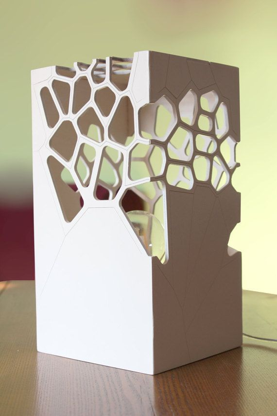 Table lamp, Laser cut playwood night light, Lighting Design, Designer light, Japanese-style light,Voronoi & Delaunay pattern table light