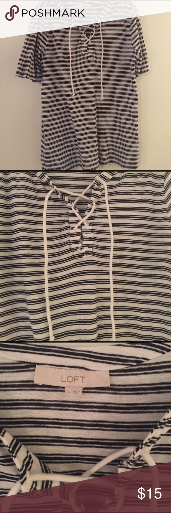 Short sleeve black and white top Lace front; tie up; black and white stripped shirt LOFT Tops Blouses