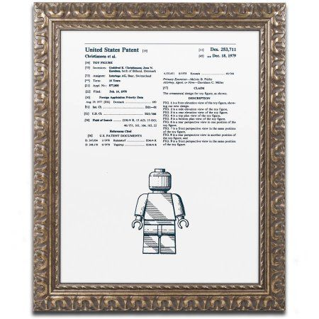 Trademark Fine Art Lego Man Patent 1979 White Canvas Art by Claire Doherty, Gold Ornate Frame, Gray