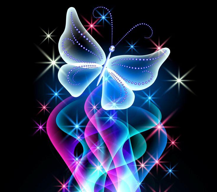 Animal Wallpapers | Ne... Neon Butterfly Wallpaper