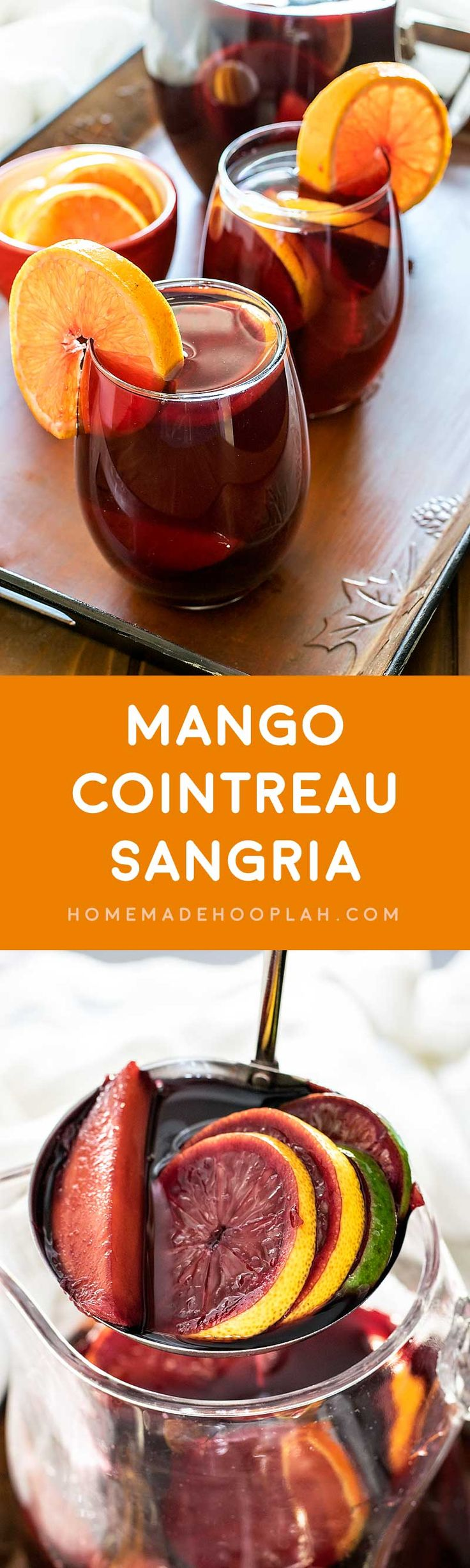 Mango Cointreau Sangria! Deliciously sweet mango sangria infused with orange, lemon, and lime, then spiked with a surprise shot of orange cointreau.| HomemadeHooplah.com