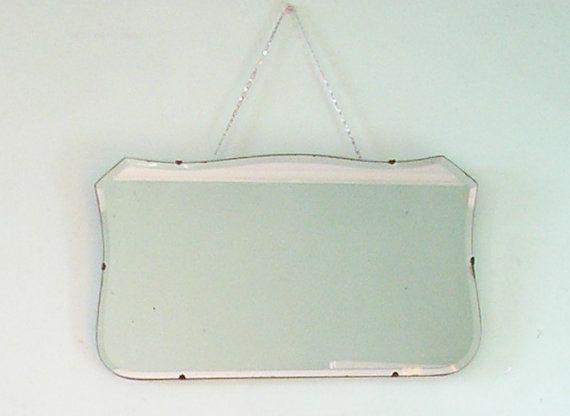 Vintage Art Deco bevelled glass mirror 1930s wall by TheIrishBarn