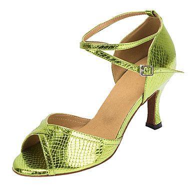Zapatos de baile(Verde) -Latino / Salsa-No Personalizables-Tacón Carrete 5267710…
