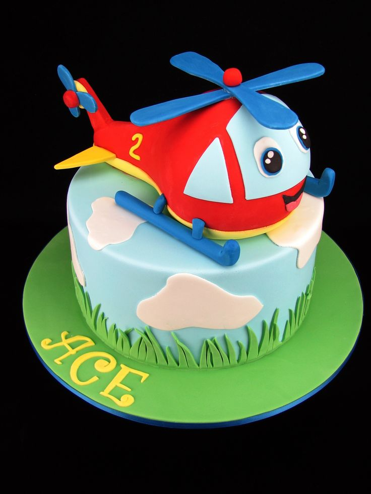Helicopter Cake: Chocolate mud cakes with milk chocolate ganache. (boys chocolate birthday cakes)