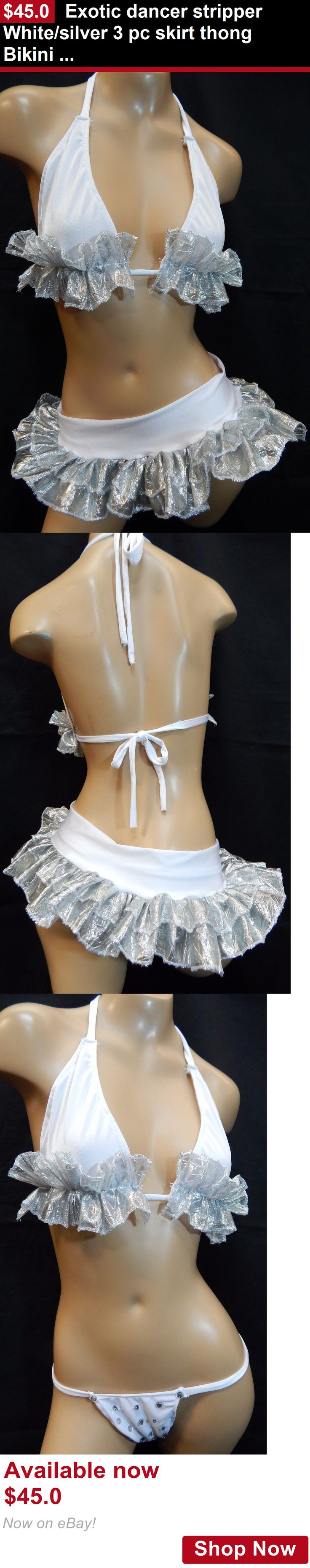 Dancewear: Exotic Dancer Stripper White/Silver 3 Pc Skirt Thong Bikini Set-Dancewear Women BUY IT NOW ONLY: $45.0