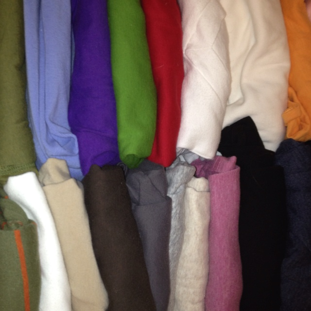 Folded t shirts in drawer