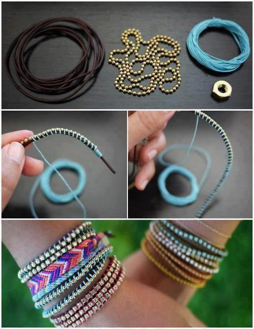 Armband Leder, Perlen