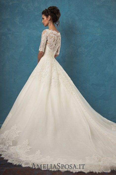 Amelia Sposa Half Sleeves A-line Lace Wedding Dresses Patrizia3 / http://www.deerpearlflowers.com/amelia-sposa-2017-wedding-dresses/