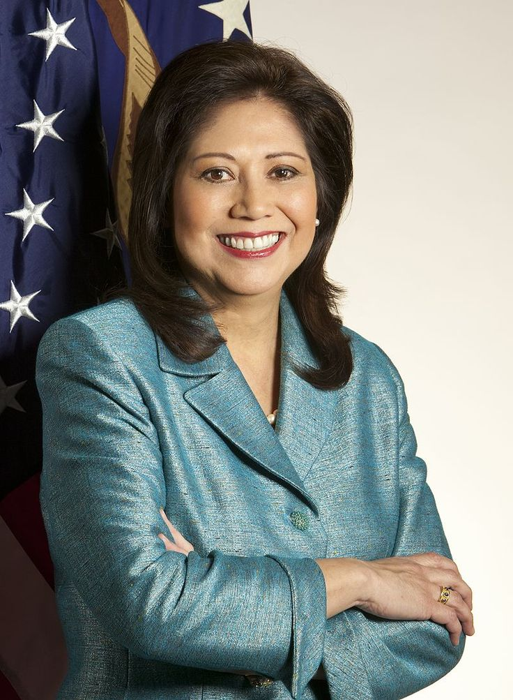 Latino Hilda Solis previously served as the 25th United States Secretary of Labor from 2009 to 2013, as part of the administration of President Barack Obama. Born to immigrants of Nicaragua and Mexico.