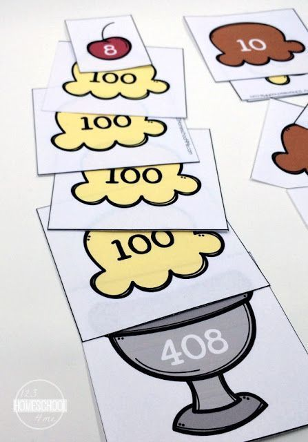 FREE Place Value Ice Cream Sundae Math Game - Hands on math activity to help kindergarten, first grade, and second grade kids learn place value