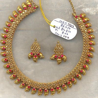 Vintage solid 22K Gold Ruby Gemstone Necklace & Earring pair Set South India