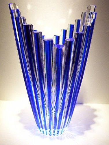 Caesar Crystal Cobalt Blue Vase Czech Rep Bohemian Art Glass Mikado Cut Cased. @Deidré Wallace