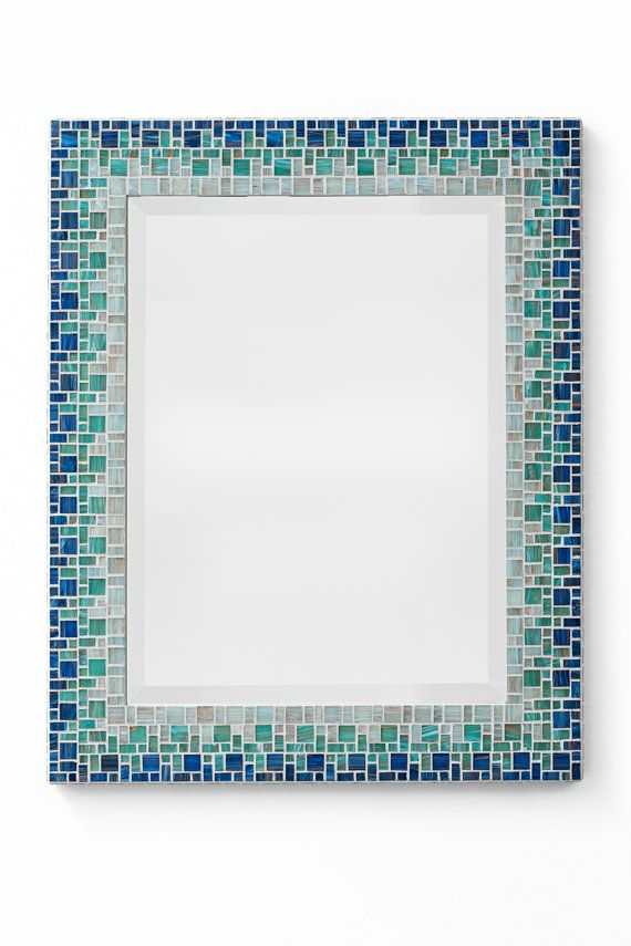 Custom Bathroom Mosaic Mirror  Sky Blue Teal Light by opusmosaics