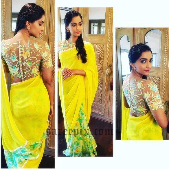 Sonam-kapoor-hot-back-in-half-saree-at-Neerja-movie-promotions