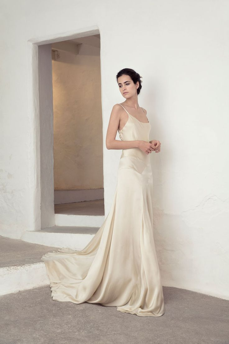 Silk sheath wedding dress   best wed images on Pinterest  Formal prom dresses Bridal gowns