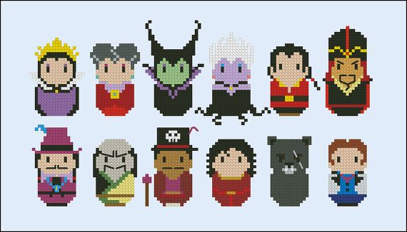 This is a parody, an inspirational cross stitch pattern of the Disneys cartoons evil villains This pattern includes all the Disney Princess