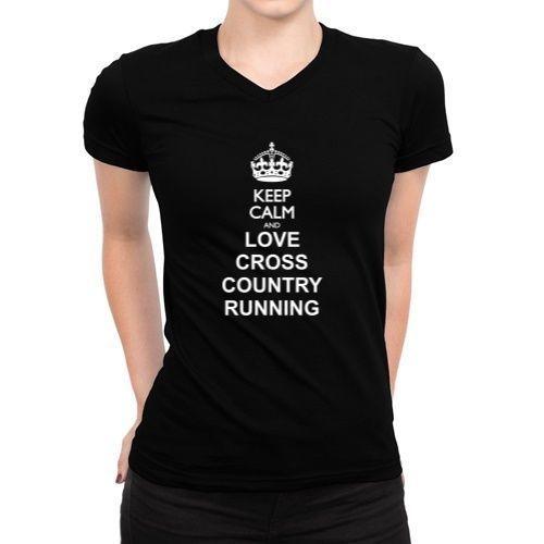 Keep Calm And Love Cross Country Running Women V-Neck T-Shirt