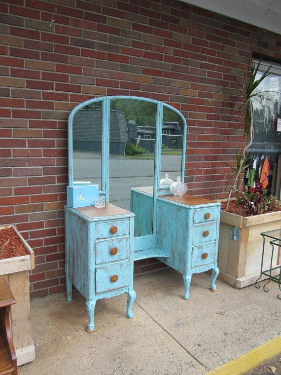 Circa 20's Antique Vanity Cottage Rustic Turquoise Brown Wood Shabby Chic Dressing Table Salvaged Distressed Refinished WHAGN on Etsy, $365.00