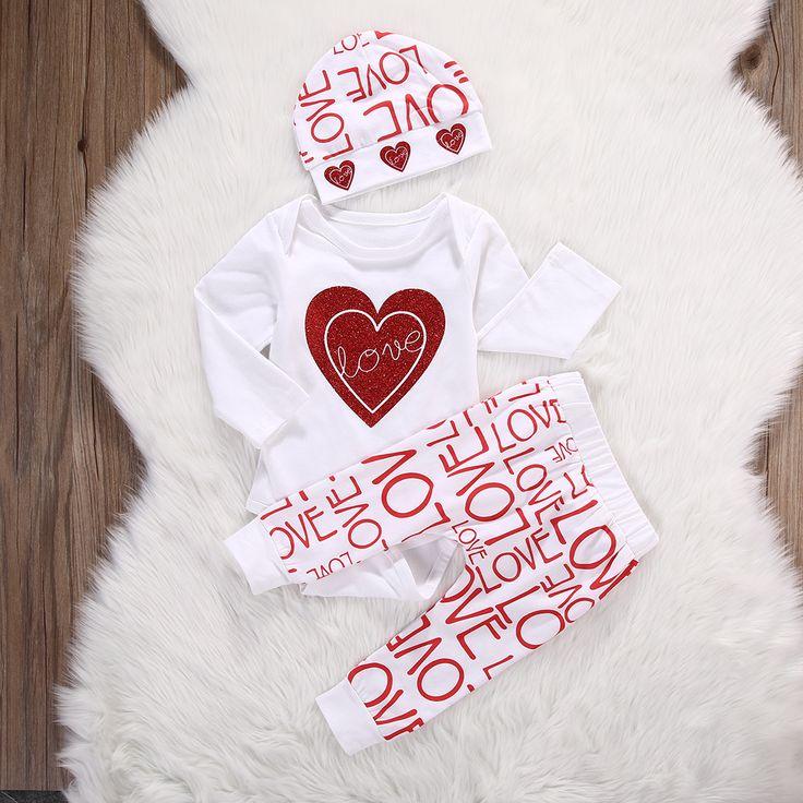 3 шт. костюм!! новорожденный Младенец Девочка Сердце Любовь Ползунки + Брюки hat Наряды Set Одежда купить на AliExpress