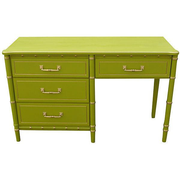 Pre-Owned Midcentury 4-Drawer Bamboo-Style Desk ($845) ❤ liked on Polyvore featuring home, furniture, desks, painted desk, painted furniture, second hand desks, second hand furniture and bamboo desk