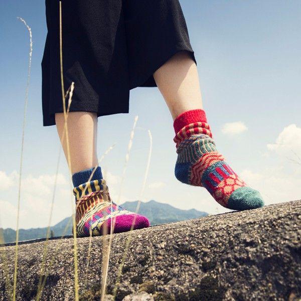 Women Stripe Woolen Blend Socks Design Multi-Color Casual Ankle Sock online - NewChic