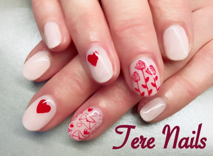 CND Shellac Romantique and Valentines Moyou stamping 💗