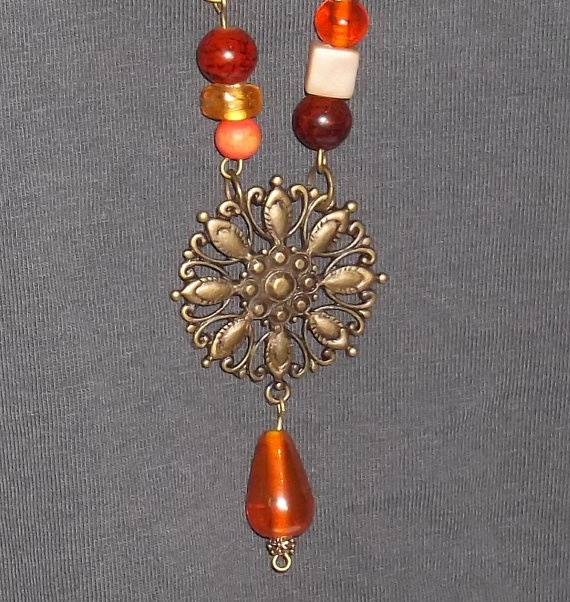 Handmade Beaded Necklace with Antique Bronze by GilbertsTree, $16.00