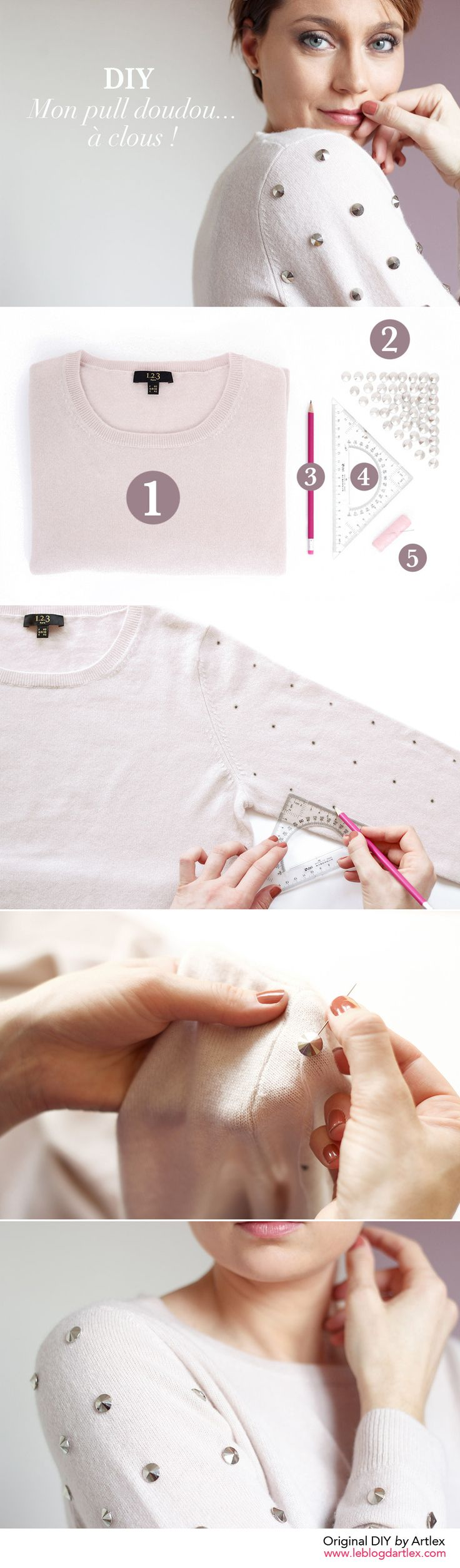 Sweater custom DIY | 123 mode femme | customisation | Blog Mode et DIY Artlex