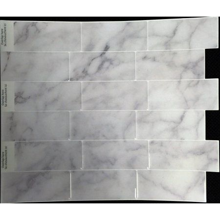 "Peel&Impress Self Adhesive backsplash tile - Grey Marble Subway - 11.25"" X 10"" -  4 pack - Walmart.com"