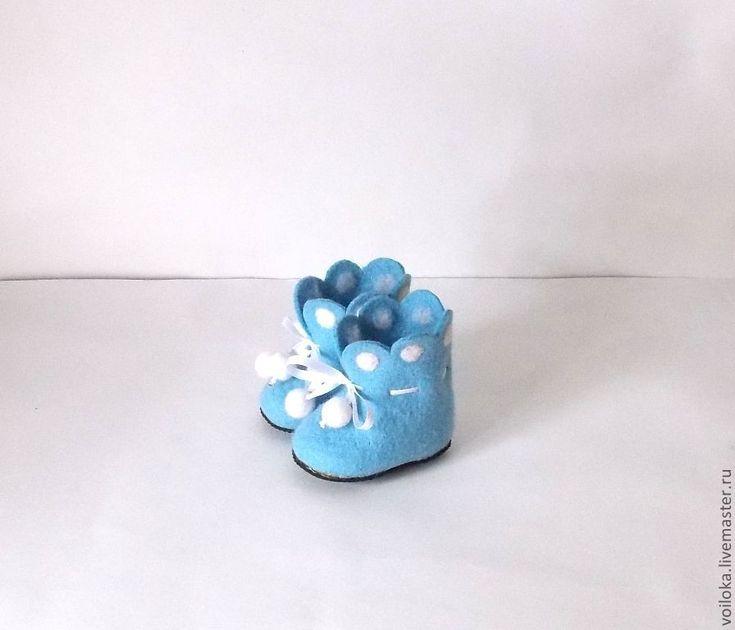 """Купить Пинетки валяные """"Для маленького ангелочка"""" - голубой, однотонный, пинетки, пинетки для мальчика"""