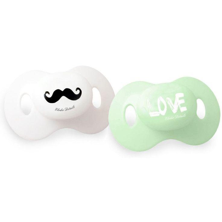 Elodie Details - Pacifier 'Mustache Love' (+3m) on framestr.com