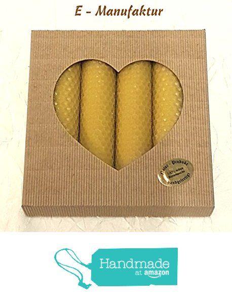 4 x Bienenwachskerzen handgedreht aus 100% reinem Bienenwachs in Wabenform in einem hochwertigen Geschenkkarton offene Welle natur mit Fenster in Herz Form verpackt. Größe 130mm x 32mm . Das Gewicht ca. 240g. Die Dochte sind im Bienenwachs getaucht, damit die Kerzen besser , ruhiger und länger brennen. von der E-MANUFAKTUR https://www.amazon.de/dp/B06XQKGMKB/ref=hnd_sw_r_pi_dp_5fRZyb5K6EHAF #handmadeatamazon