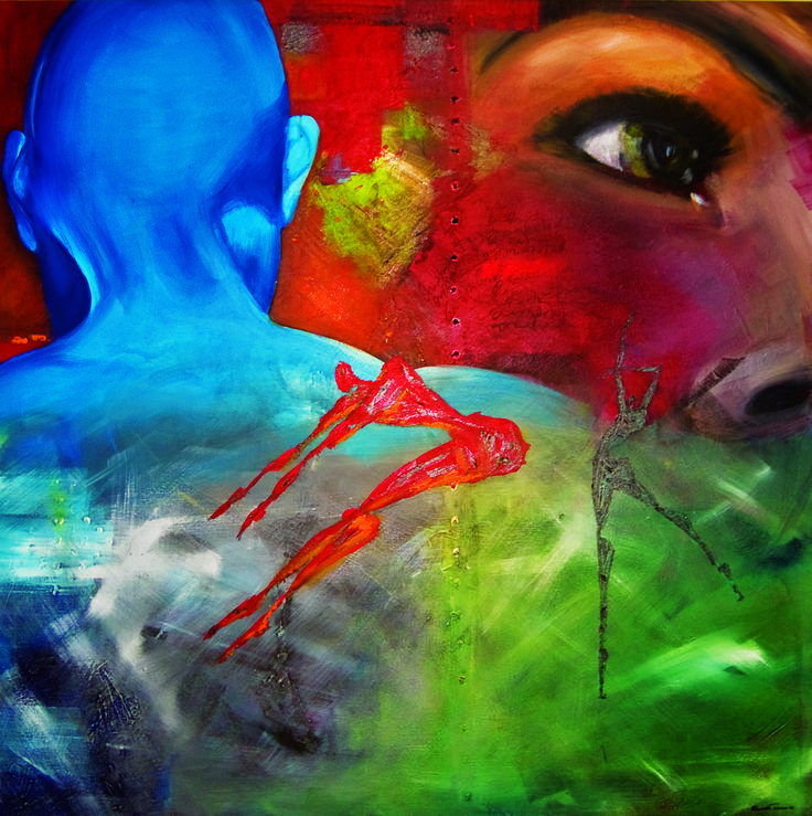 "Acrylic paint on canvas "" the storm"" By Elisabeth Takvam"