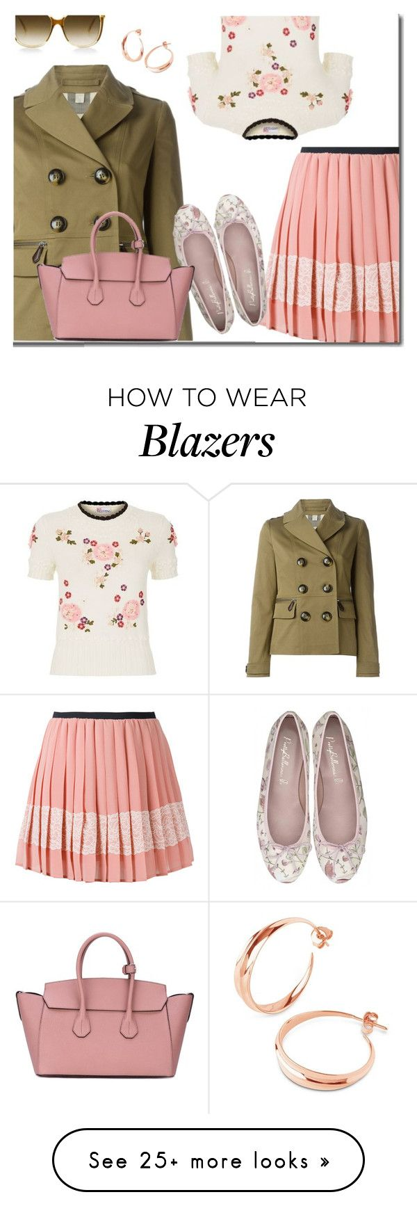 """Floral Top And Pleated Skirt"" by carolinez1 on Polyvore featuring Burberry, RED Valentino, Steven Alan, Liberty and Bally"
