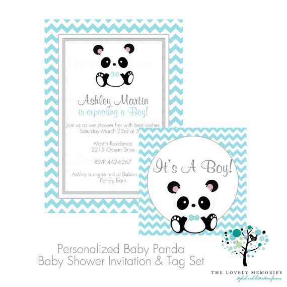 Its a Boy Baby Panda Teal Chevron Baby Shower Invitation & Tag Set- DIY Printable File via Etsy