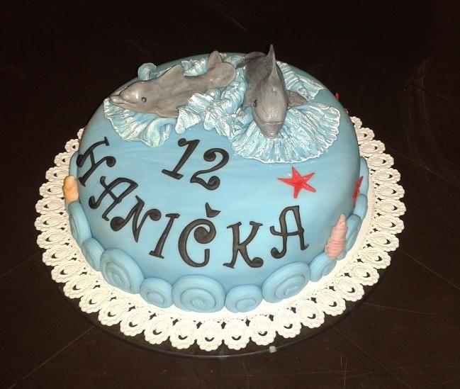 dort - narozeninový s delfíny / cake - birthday with dolphins