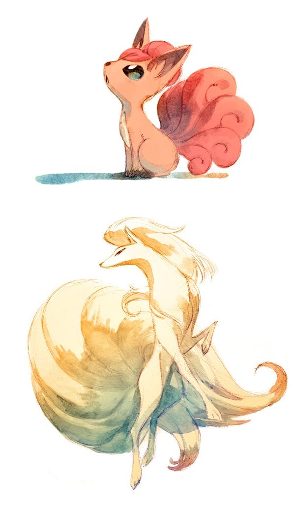 Vulpix and Ninetails watercolor Pokemon