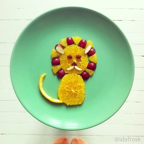 Fruit Lion - I pinned this as Grace has been in hysterics for the past 5 mins as she finds this image so amusing. :0)