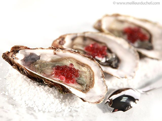 Huîtres aux perles de vinaigre à l'échalote