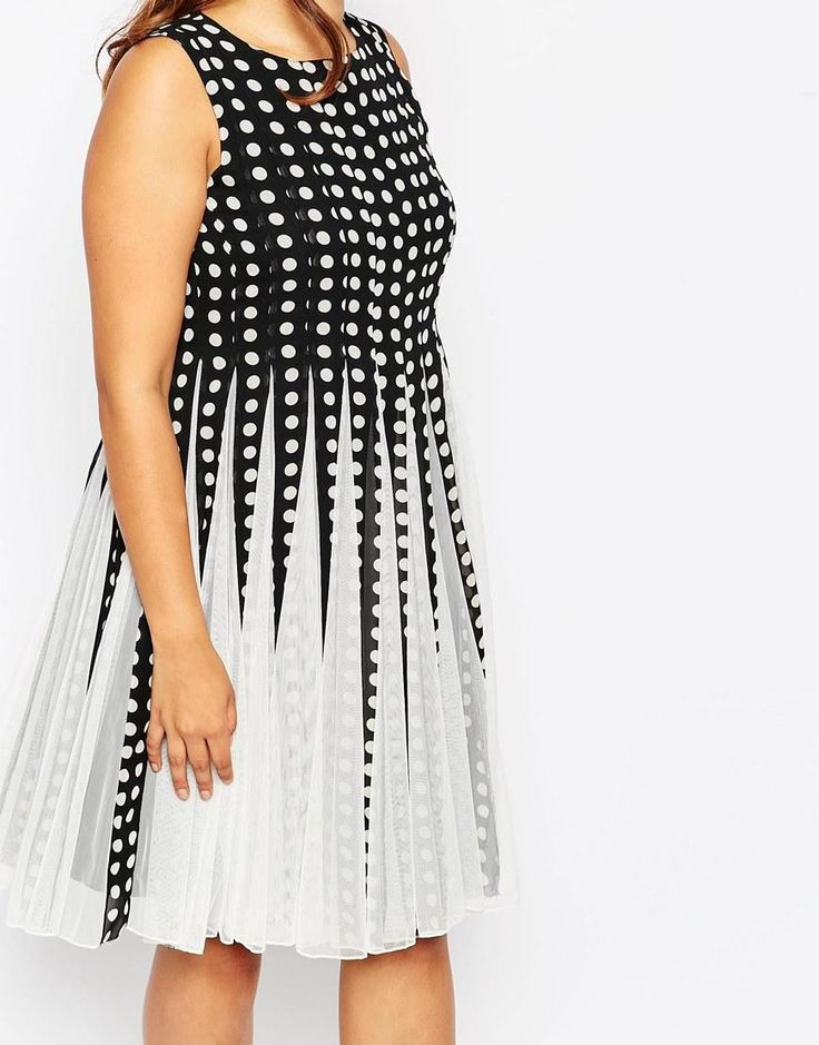 ASOS Curve | ASOS CURVE Spot Mesh Insert Fit and Flare Midi Dress at ASOS