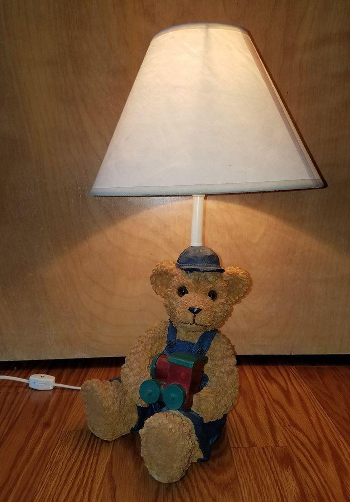 17 Quot Cute Teddy Bear With Train Nursery Children 39 S Lamp
