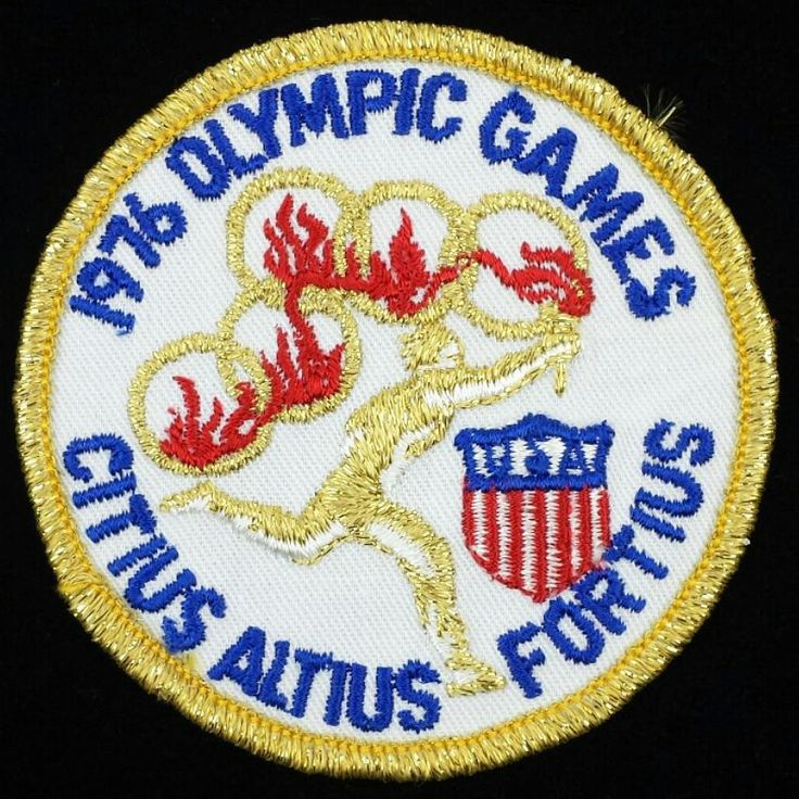 """The Olympic motto is """"Citius Altius Fortius"""" Latin for """"Faster Higher Stronger"""". The motto was first introduced at the 1924 Paris Olympics by Baron Pierre de Coubertin co-founder of the modern Olympic games. #olympics #citiusaltiusfortius #vintagepatches #1976 #vintageolympics #pierredecoubertin"""