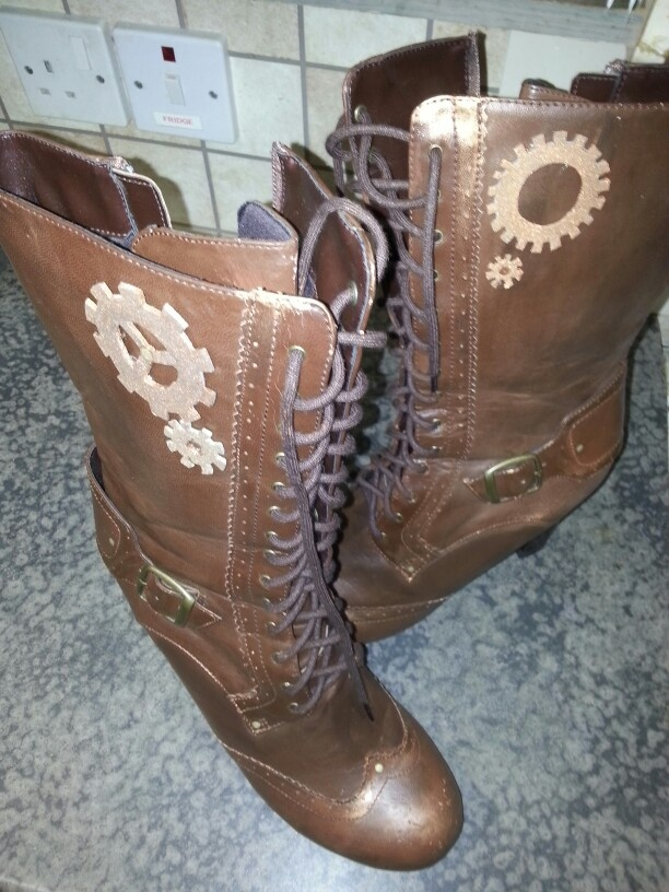Crappy distressed boots got punked.  Hope they don't fall to bits in my case!