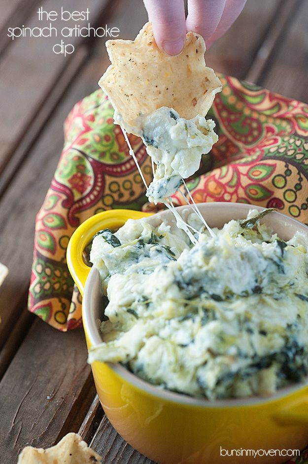 The BEST Spinach Artichoke Dip - easy, creamy, cheesy, and melty!