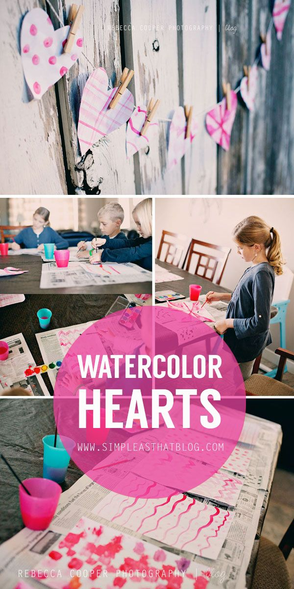 Fun + frugal valentines craft for kids // watercolor hearts. #valentinesday #kidscraft