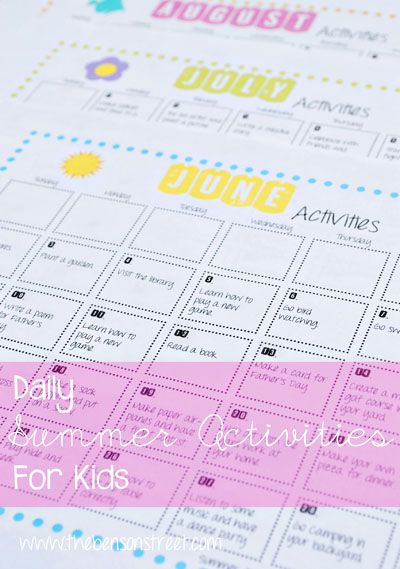 """Sick of hearing """"I'm bored,"""" All summer long? Check out all the ideas in this Summer Activities Calendar Free Printable at www.thebensonstreet.com #summer #printable"""