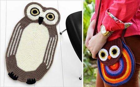 Hobby lavori femminili - ricamo - uncinetto - maglia: borsa gufo uncinetto
