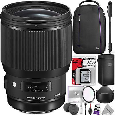 Sigma 85mm f/1.4 DG HSM Art Lens for Nikon F Cameras (321955) w/ Travel Bundle