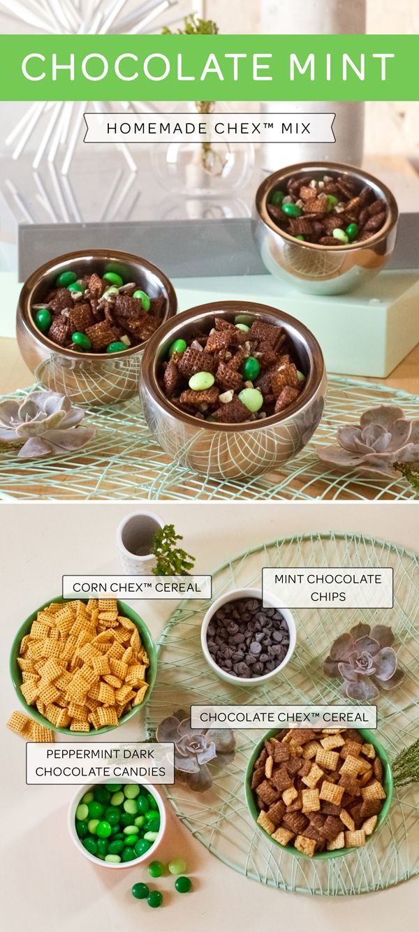 """Apparently there is a """"National Chocolate Mint Day"""" so we know what we're going to make when it comes around! Especially as it only needs four, yes only four, ingredients! Chocolate Chex, Corn Chex, mint chocolate chips and peppermint flavored dark chocolate pieces – that's it. Enjoy :)"""